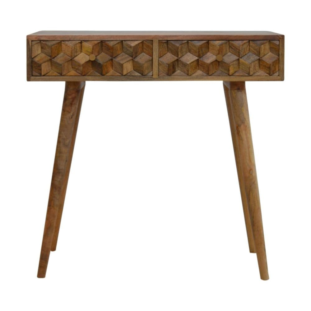 Cube Carved Console Table